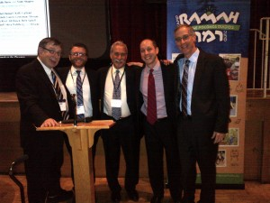 (L-R): Rabbi Archie Ruberg, Rabbi Joel Seltzer, Rabbi Eli Havivi, Geoff Menkowitz, and Rabbi Mitchell Cohen